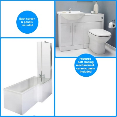 Premier Saturn Furniture Pack With Square 1700mm Shower Bath Suite