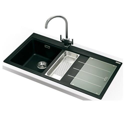Franke Mythos MTF 651-100 Inset Fragranite Kitchen Sink In Onyx RHD