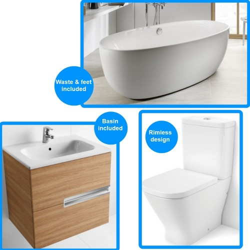 image for 248313000-34273700H-34173C000-801732004-855834155 Roca Virginia Freestanding Bath With Toilet And Vanity Unit Suite
