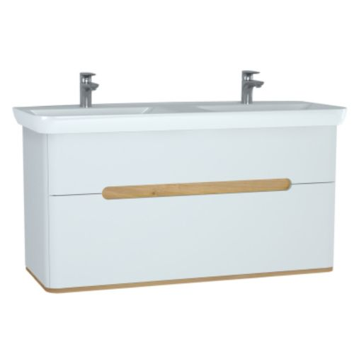 sink with vanity unit. Image For 61187 Vitra Sento 1300mm Wall Hung Double Basin Vanity Unit Matt  White