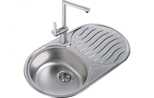 Teka DR 78 Round 1B and 1 Drainer Inset Rev Kitchen Sink Stainless steel