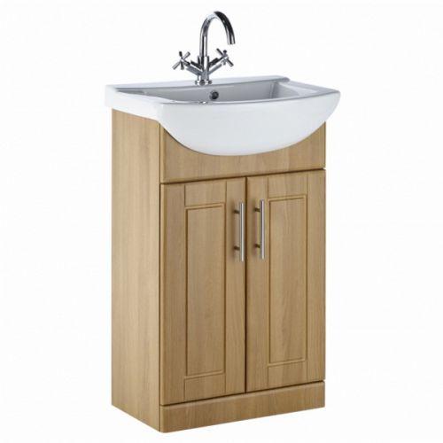 Frontline Aquachic 500mm Natural Oak Floorstanding Vanity Unit