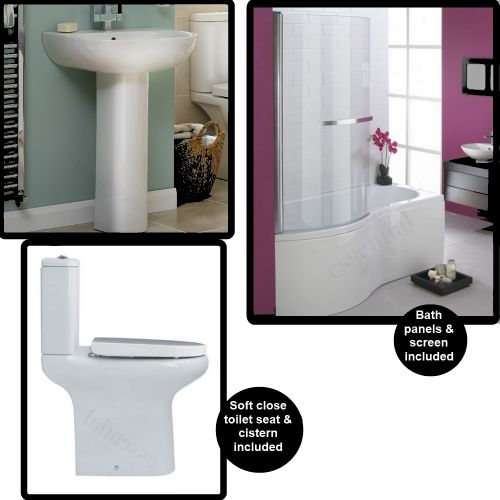 image for EBP003-EB203-EC1015-EC1001-EC1002 Essential Hampstead Shower Bath And Comfort Height Toilet Basin Suite