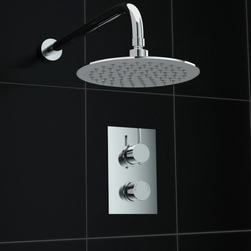 Concealed Round Wall Mounted 200mm Thermostatic Mixer Shower Kit