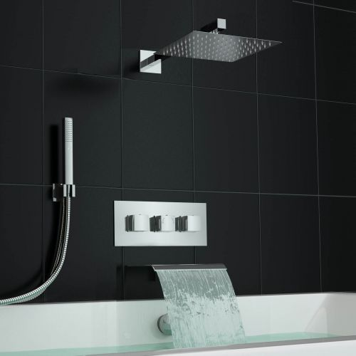 Square Waterfall Bath Filler Kit And Concealed 3 Way Mixer