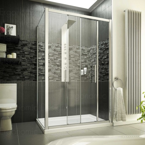 New 1200 X 700 Sliding Door Shower Enclosure Cubicle With 8mm Easy