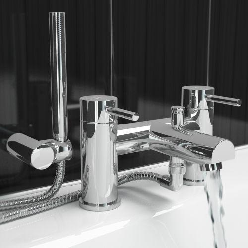 Ergonomic designs chrome round bath filler mixer tap with for Ergonomic designs bathroom