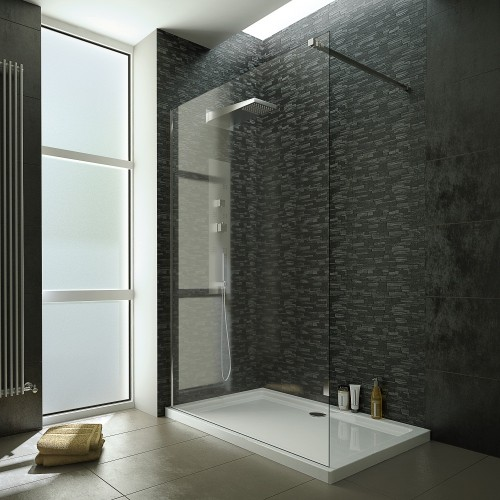 image for EDCA8WET100 1000mm Wet Room Screen With  8mm Toughened Safety Glass