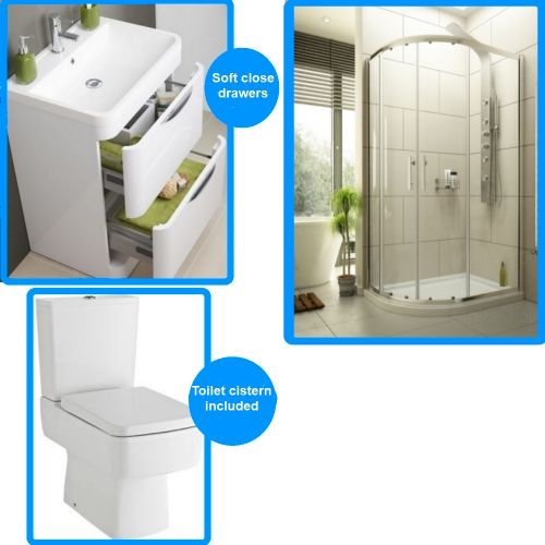 image for EDOQ108-EDT108-E330-CBL004-CBL005-FPA001 En Suite Bathroom 1000 X 800 Offset Quadrant Shower Enclosure Set