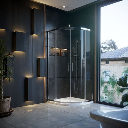 900 X 900mm Quadrant Shower Enclosure 2 Door With Tray Waste