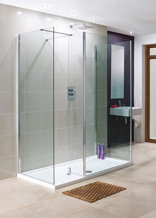 Lakes 1200x800 3 Panel Walkin Shower Enclosure With Return And Stone