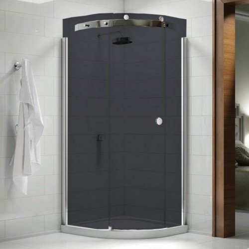 Image For M103221BL Merlyn 10 Series 900 X 900mm Quadrant Shower Enclosure Smoked Black Lh