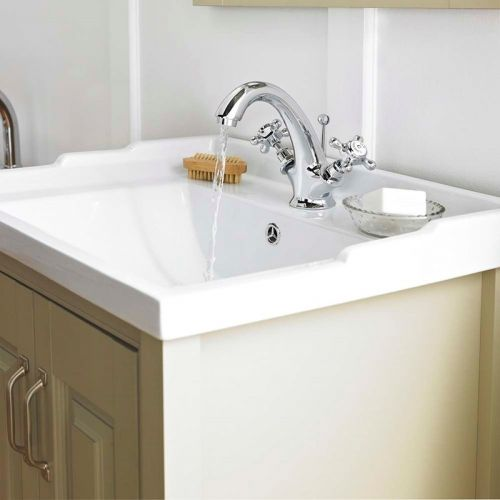 Old London Ivory 600mm Traditional 1 Tap Hole White Ceramic Basin