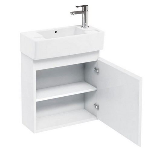 image for R10W Britton Aqua Cabinets Compact 505mm Wall Hung Cloakroom Vanity Unit In White
