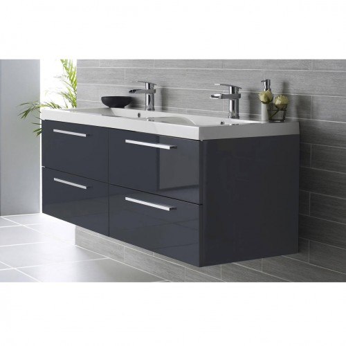 hudson reed quartet 1400mm wall hung vanity unit in grey 23112