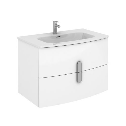 Frontline Royo Grandeur 800mm Gloss White Wall Hung Vanity Unit