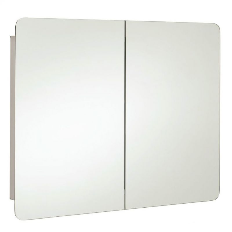 image for 12SL380 Rak Duo Stainless Steel Double Door 800mm Bathroom Mirror Cabinet