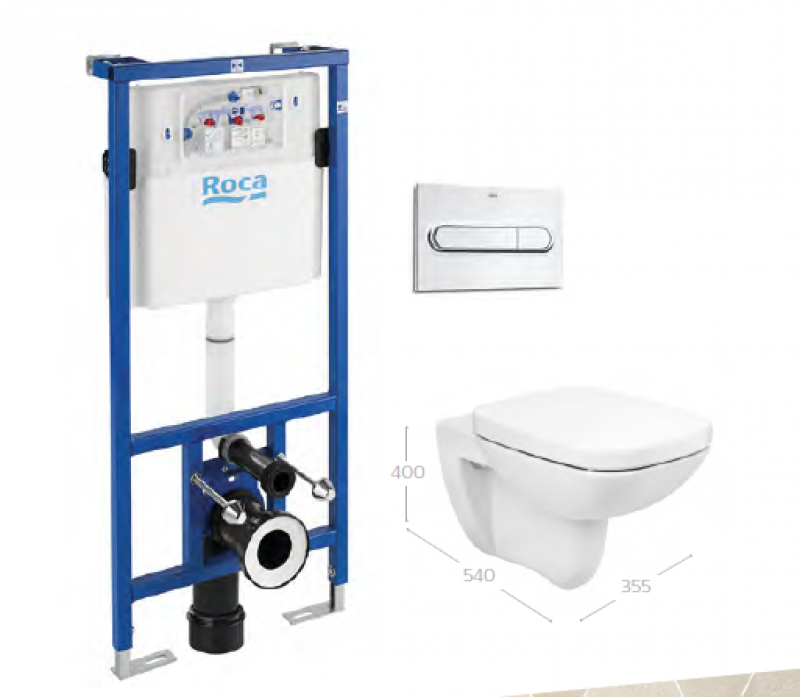 image for 34847L001 Roca Debba Square Rimless Wall Hung WC Frame and Flush Plate - Pack