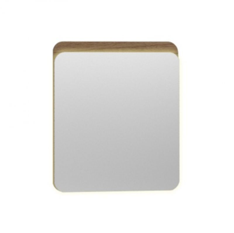 image for 56160 Vitra Nest 600mm Rectangular Led Waved Natural Wood Bathroom Mirror