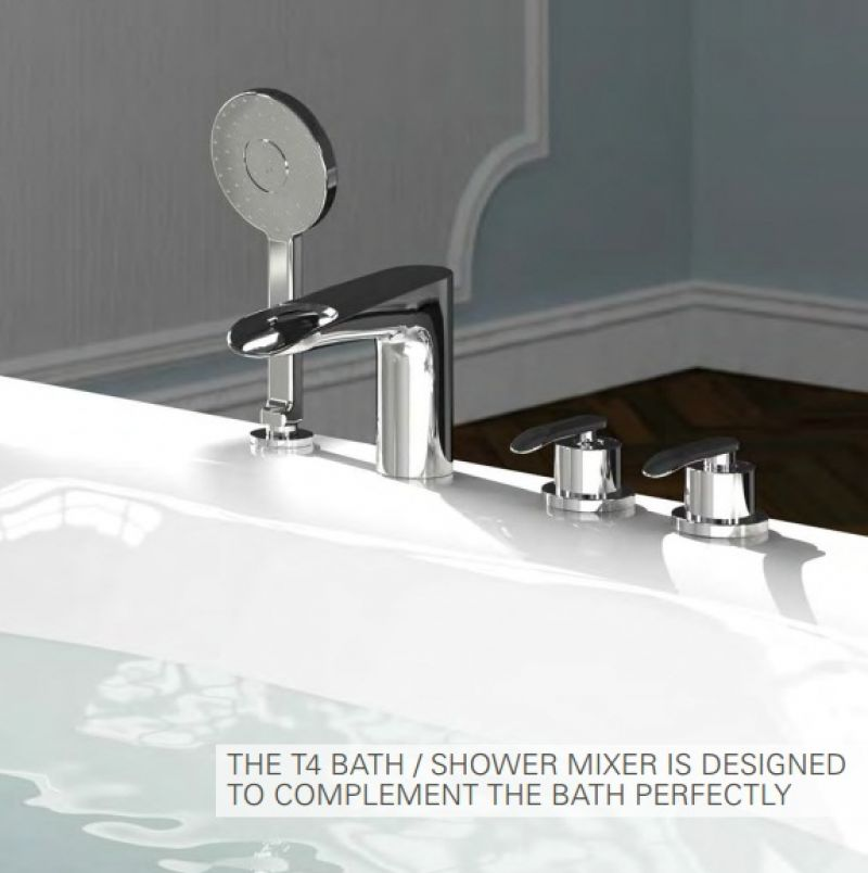 image for A41283VUK Vitra T4 Deck Mounted 4 Tap Hole Bath Tap With Handshower