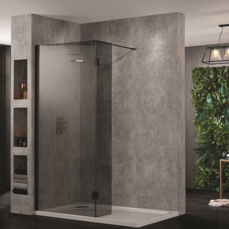 image for AQ8412-SM Aquadart Wetroom 10 800mm Smoked Wet Room Screen