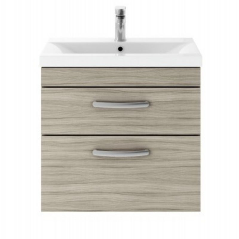 image for ATH043B Premier 605mm Wall Hung Vanity Unit In Driftwood & Basin