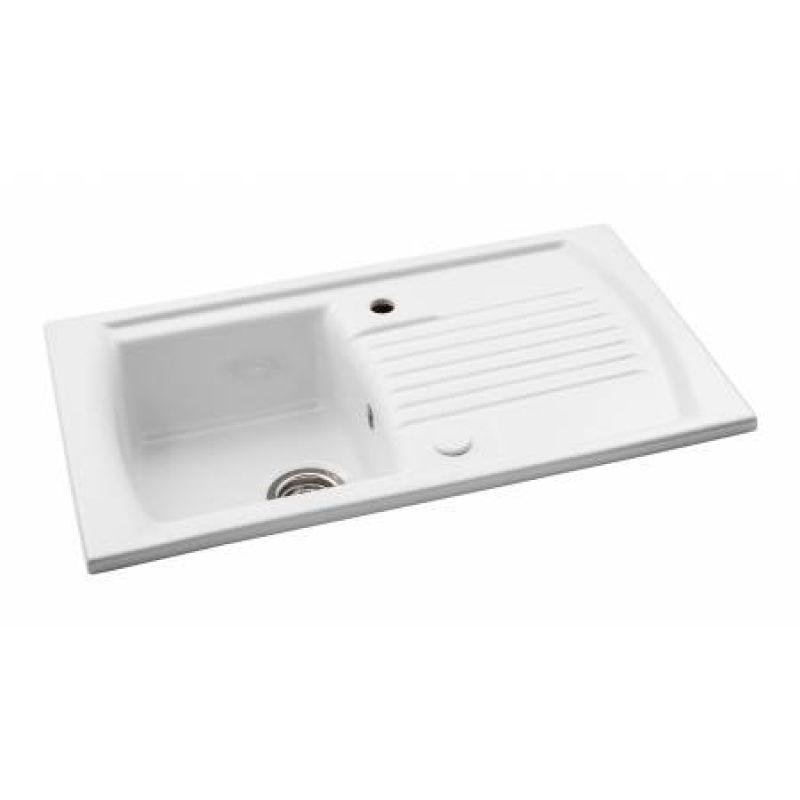 Tremendous Abode Kitchen Sink Milford 1 Bowl Sink In White Ceramic Inset Download Free Architecture Designs Scobabritishbridgeorg