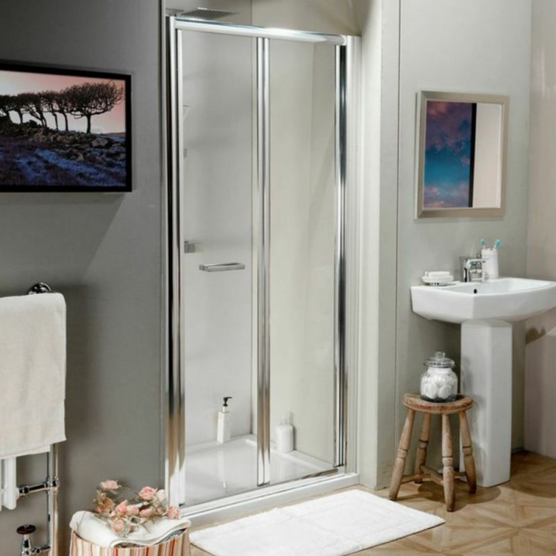 image for BFD80 800mm Bi Fold Shower Door With 4mm Toughened Safety Glass