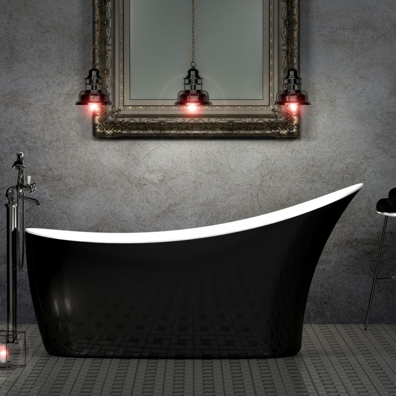 image for CE11014 Charlotte Edwards Portobello Gloss Black 1590x680mm Freestanding Bath