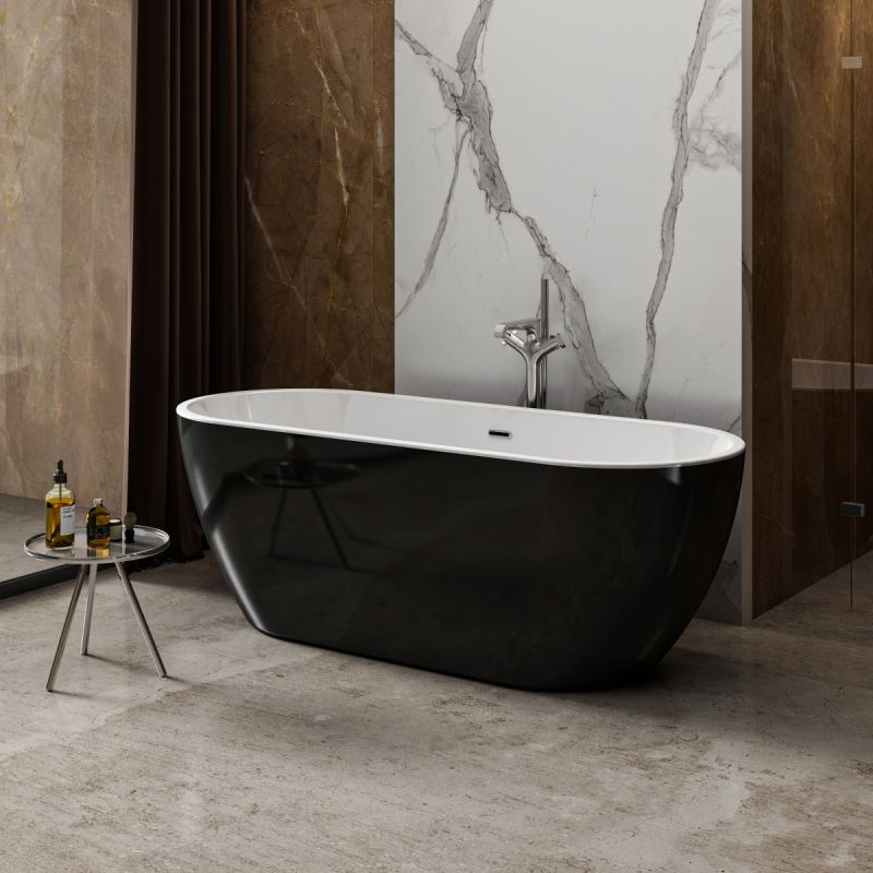 image for CE11034 Charlotte Edwards Belgravia Gloss Black 1690x730mm Freestanding Bath