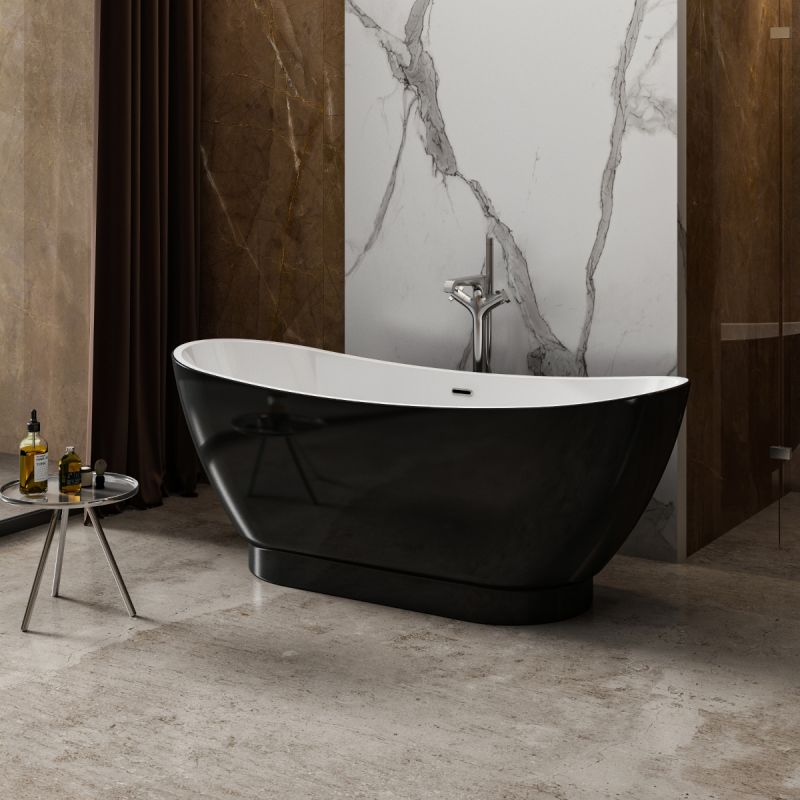 image for CE11036 Charlotte Edwards Richmond Gloss Black 1760x680mm Freestanding Bath