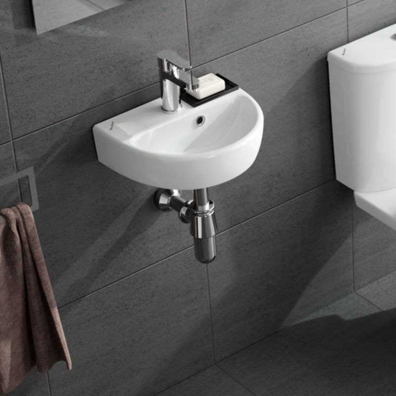 image for E14821WH Twyford E100 360mm Round Cloakroom Wall Mounted Basin 1th
