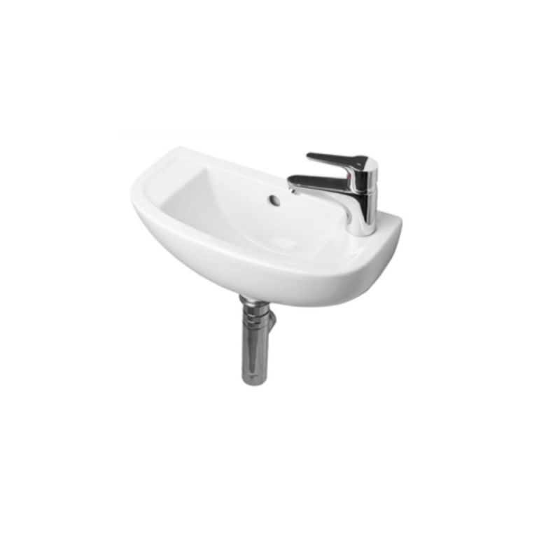 image for EC1011 Essential Lily 450mm Slimline Cloakroom Wall Mounted Basin Rh 1th