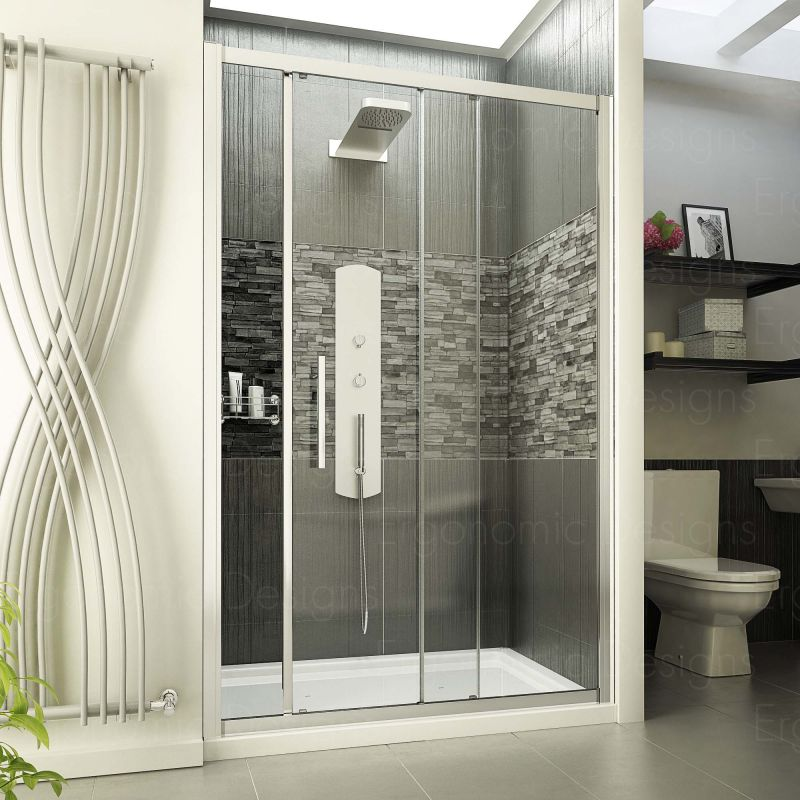 image for ED1200SS Ergonomic Designs 1200mm Sliding Shower Door With 8mm Easy Clean Glass