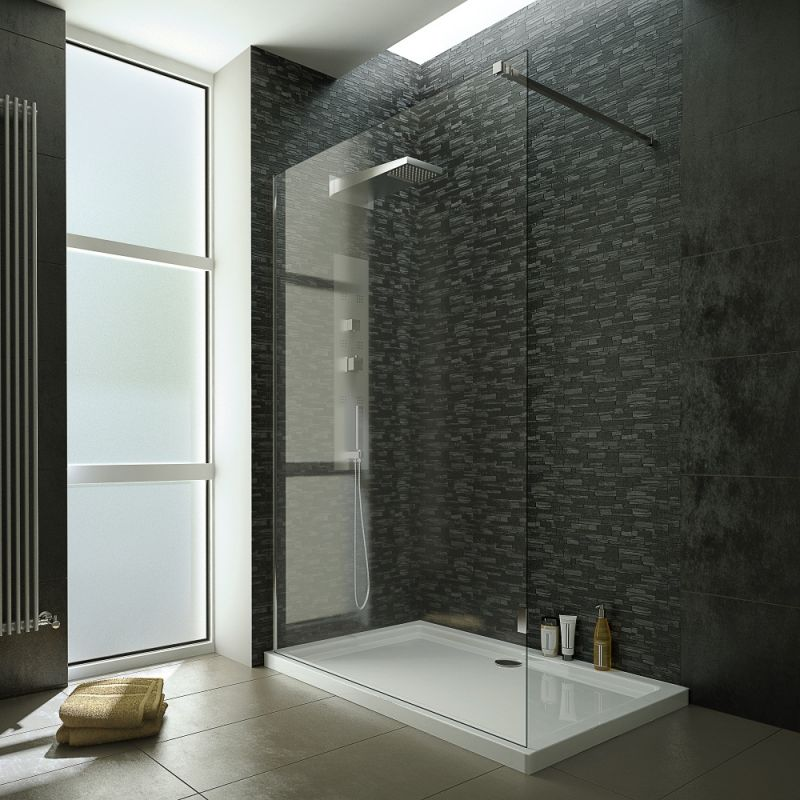 image for EDCA10WET120 1200mm Wet Room Screen With 10mm Tempered Easy To Clean Safety Glass