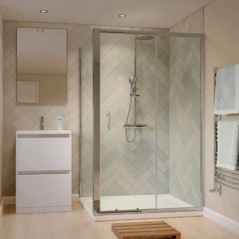 image for EDPS1508-EDPD8034-EDPJ25P1452 1500 X 800mm Sliding Door Shower Enclosure With Tray And Waste