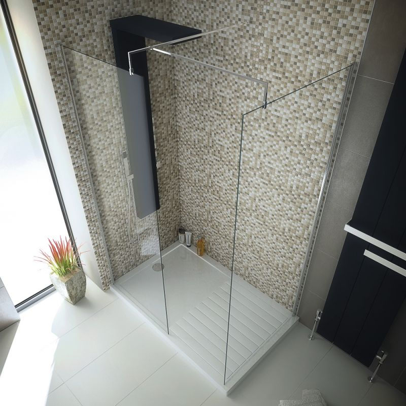 image for EDW090-EDW080-EDT1600S-E330 1600 X800 Walk In 8mm Glass Wetroom Shower Cubicle With Tray And Waste