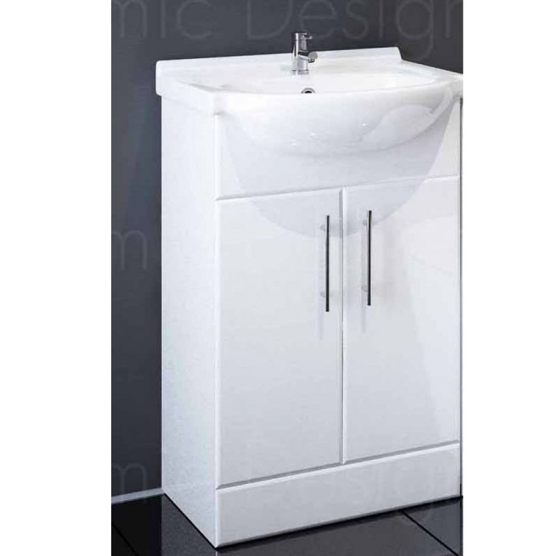 image for EDY550 Sahara 550mm Bathroom Vanity Unit In White With Basin