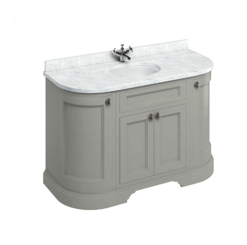 image for FC1O-BC13 Burlington 1340mm Olive Curved Traditional Vanity Unit & Marble Top