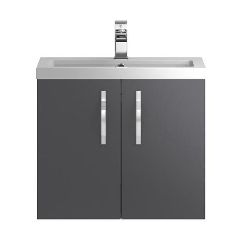 image for FMA436 Hudson Reed Apollo 600mm Gloss Grey Wall Mounted Vanity Unit