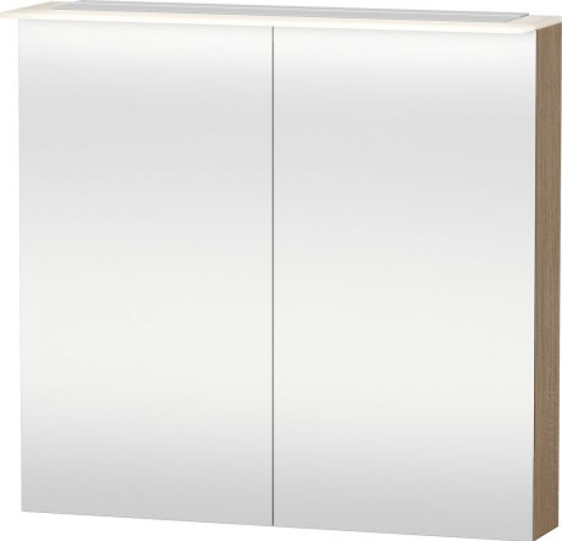 image for H2759405252 Duravit Happy D2 Rectangular 800mm Led Oak Mirror Cabinet