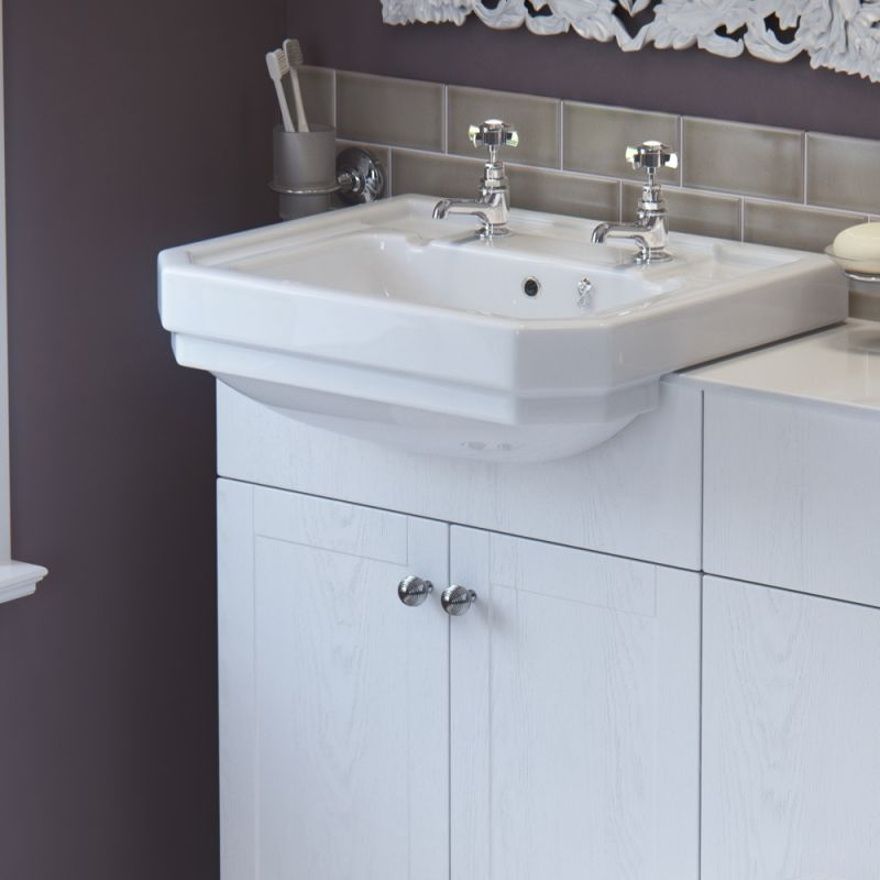 image for HORBAS36 Horizon Scarlett 550mm 2 Tap Hole Traditional Semi Recessed Basin