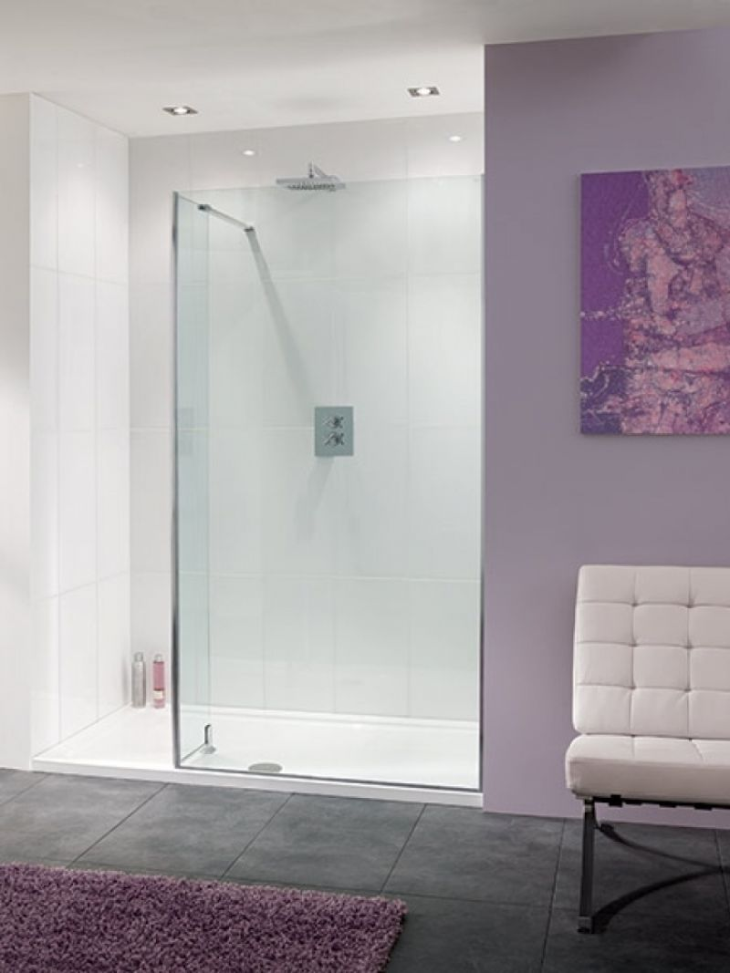 image for LK812-100-05-LK812-20-05-ZZTR8016 Lakes Nice 1600x800 Walkin Shower Enclosure With Return And Stone Tray