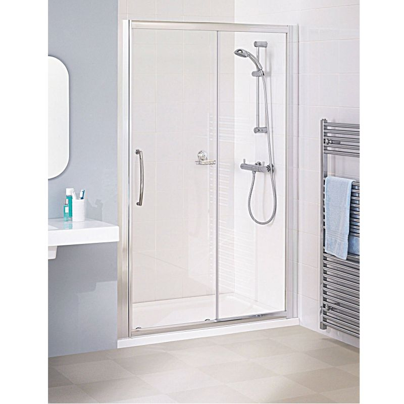 image for LKV2S140-05 Lakes Bathrooms Classic Silver 1400mm Sliding Shower Door With Handle