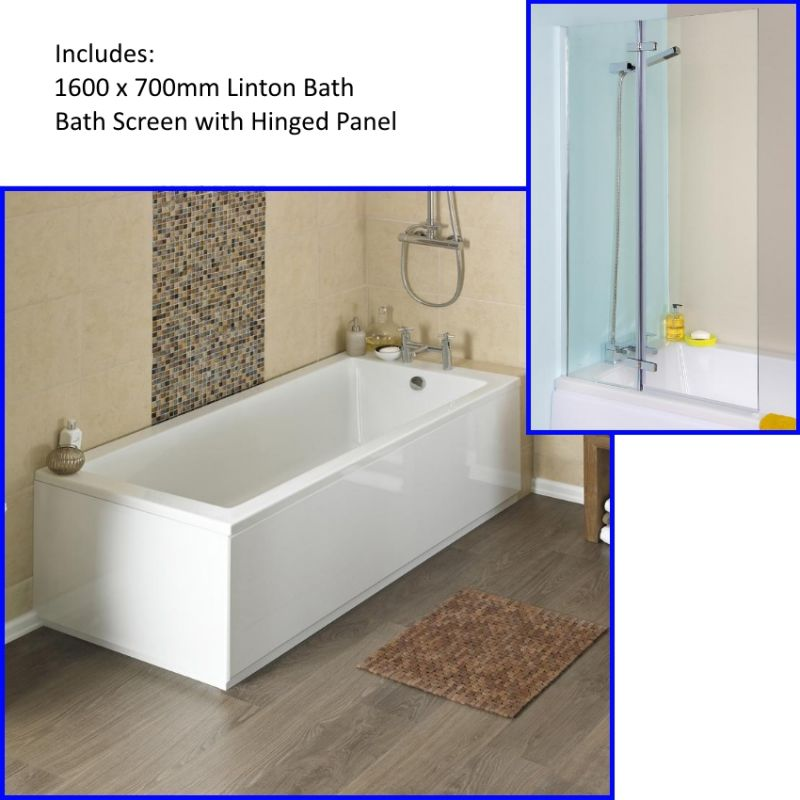 image for NBA407-ERSS1 Premier Linton 1600 X 700mm Single Ended Bath And Straight Bath Screen