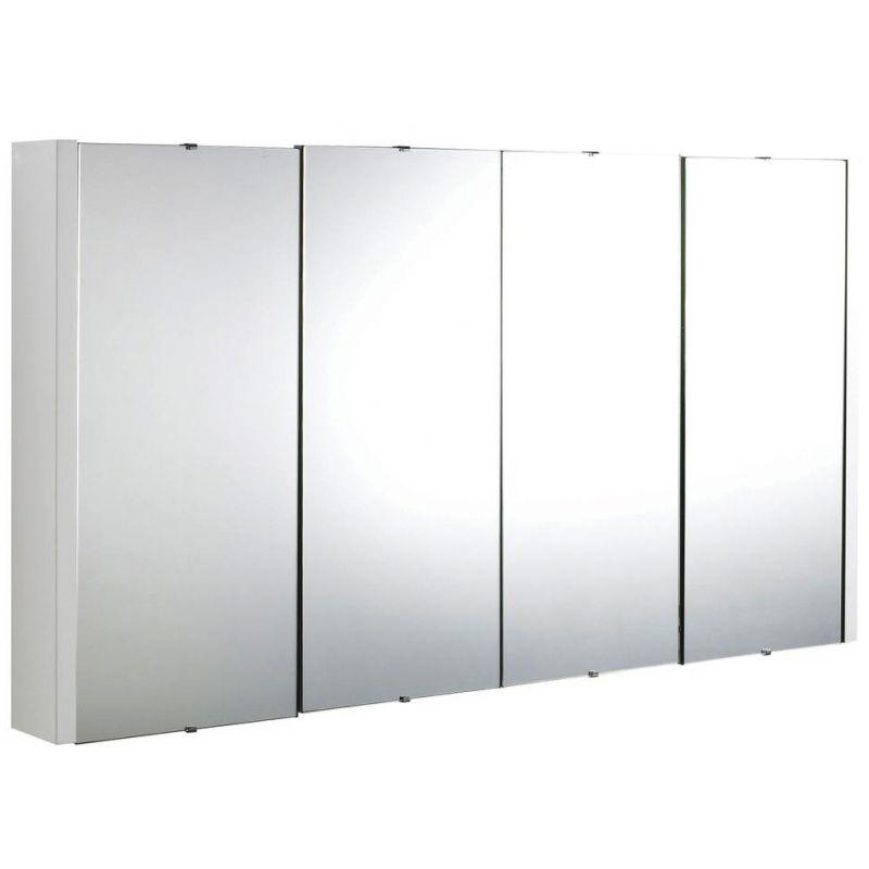 Premier Design High Gloss White 1200mm 4 Door Mirror Cabinet