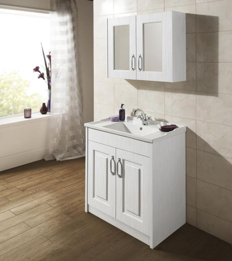 image for OLF115 Premier York Traditional White 2 Door Mirror Cabinet