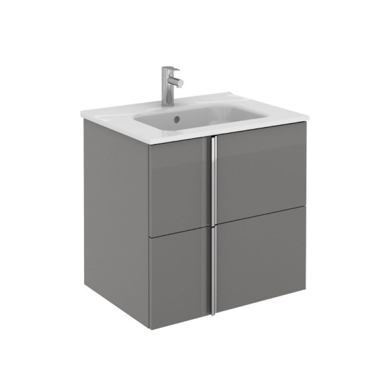 image for RO22792 Frontline Royo Onix 600mm Gloss Grey 2 Drawer Wall Hung Vanity Unit