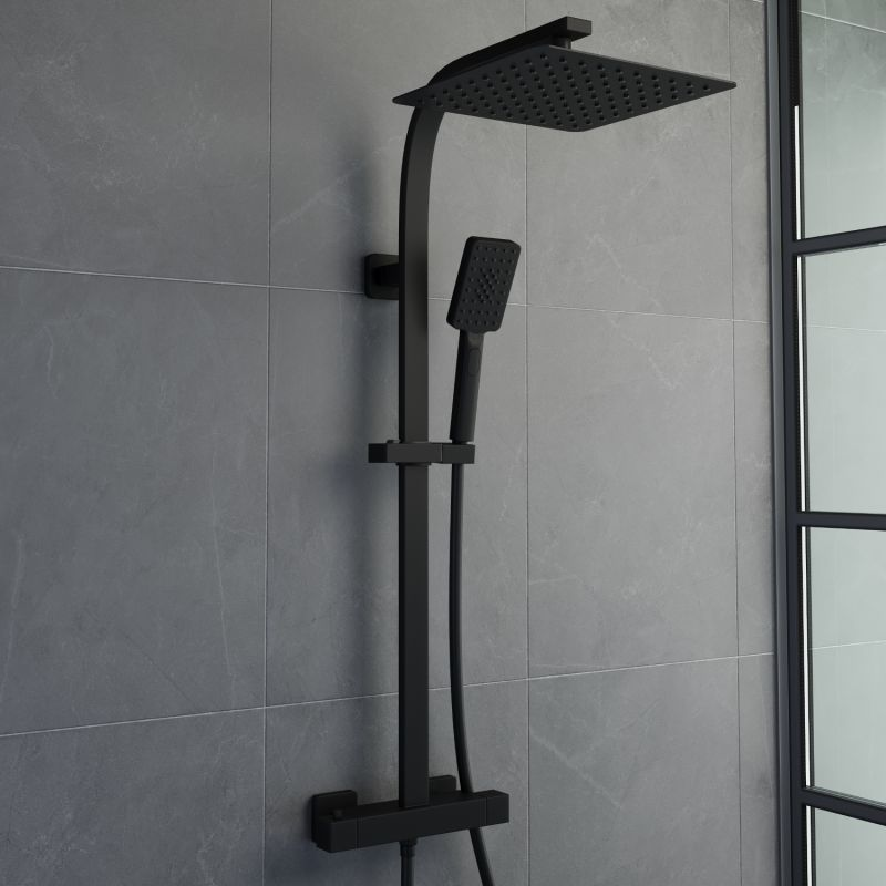 image for SOLPRE03 Solar Matt Black Cool Touch Exposed Thermostatic Square Shower Kit
