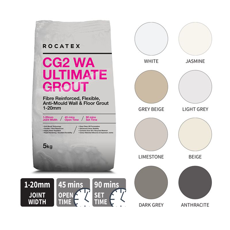 image for TLTA-20-2022 Rocatex CG2 WA Ultimate Grout 5kg Dark Grey